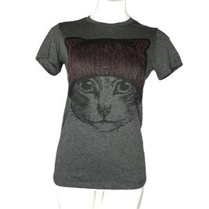Bella Canvas Cat Face Heather Gray Stretch Tee